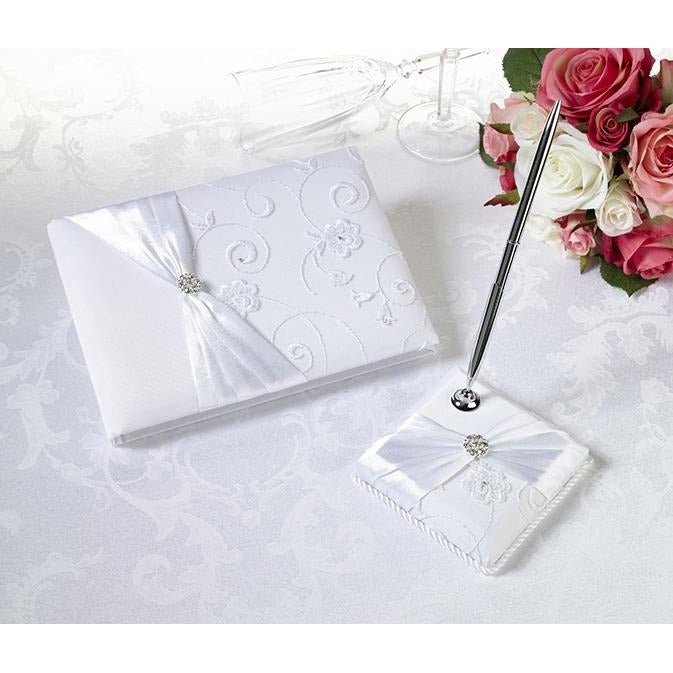 White Lace Guestbook & Pen Set