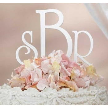 White Monogram Wedding Cake Topper