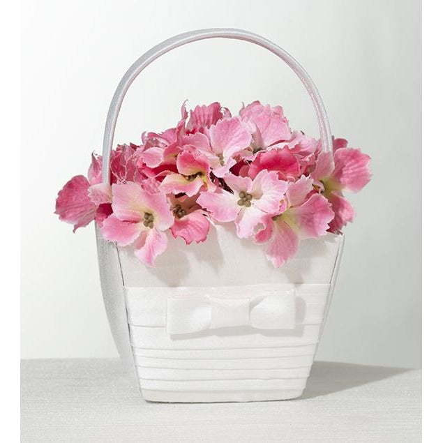 White Pleated Silk Flower Basket