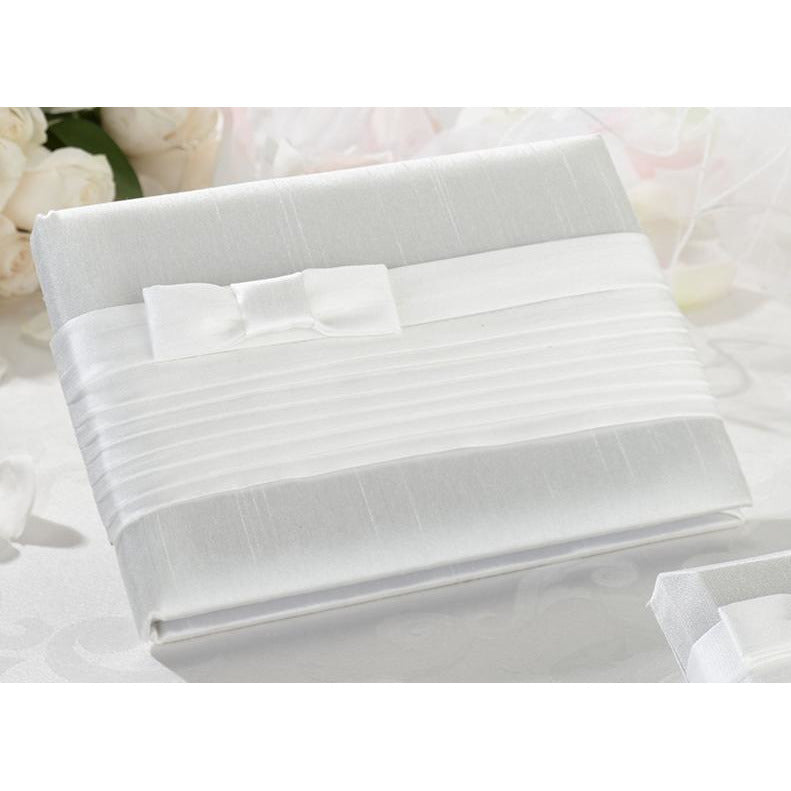 White Pleated Silk Guestbook