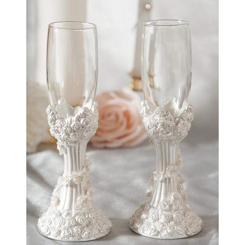 White Rose Column Wedding Toasting Glasses