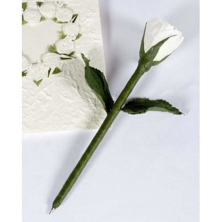 White Rose Natural Paper Wedding Pen