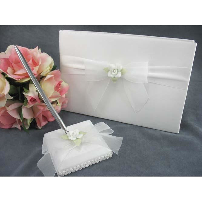 White Rose Wedding Guestbook and Pen Set