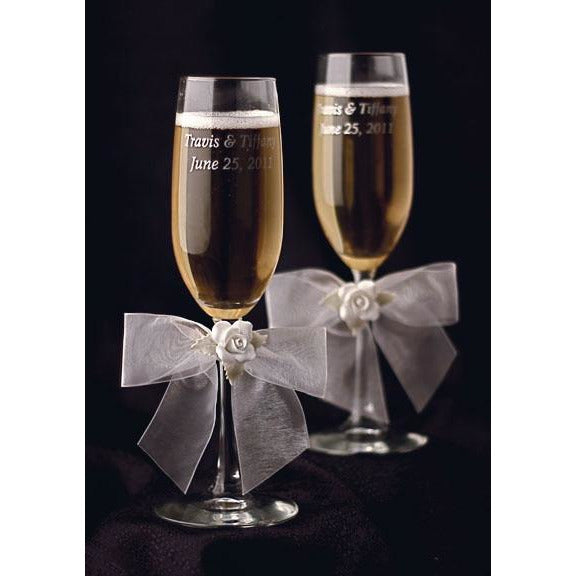 White Rose Wedding Toasting Glasses