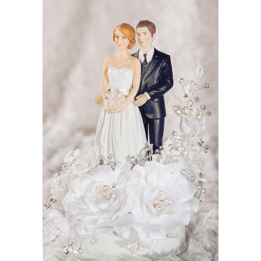 White Velvet Rose Wedding Cake Topper - Groom in Navy Suit