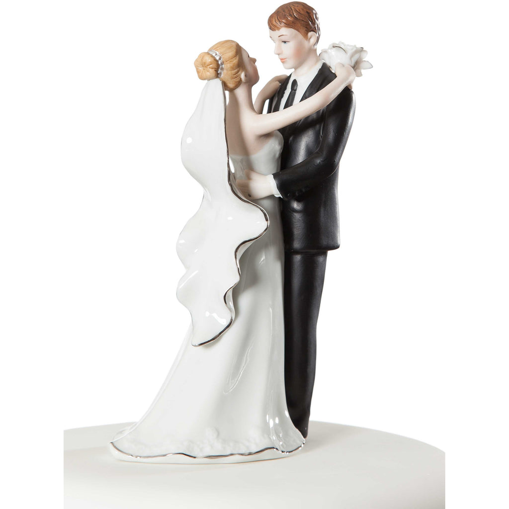 White and Silver Porcelain Bride and Groom Wedding Cake Topper Figurine