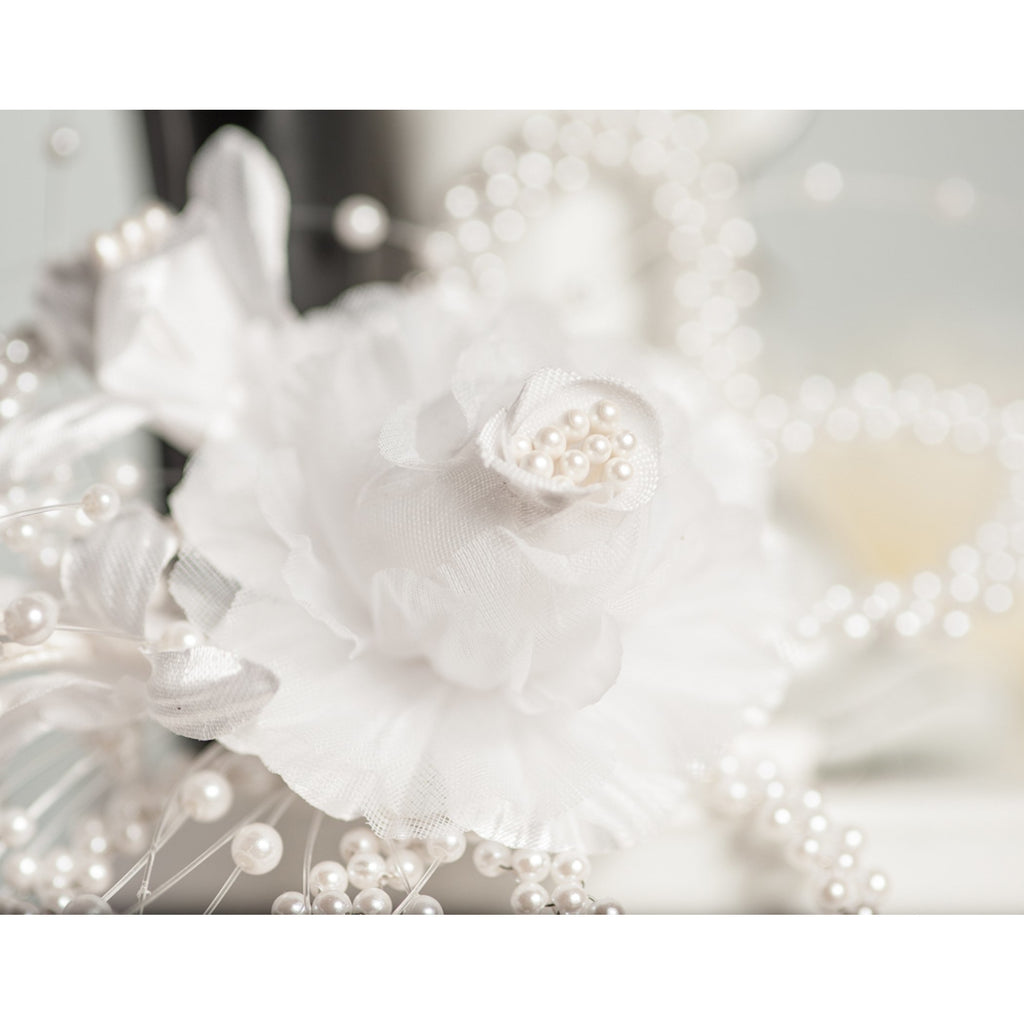 White and Silver Silk Rose Pearl Accent Wedding Cake Topper