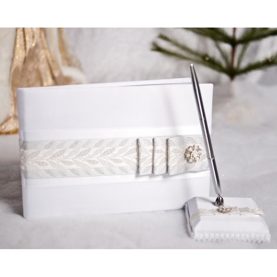 Winter Woodland Wedding Guest Book and Pen Set