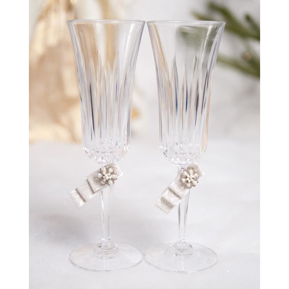 Winter Woodland Wedding Toasting Glasses Set