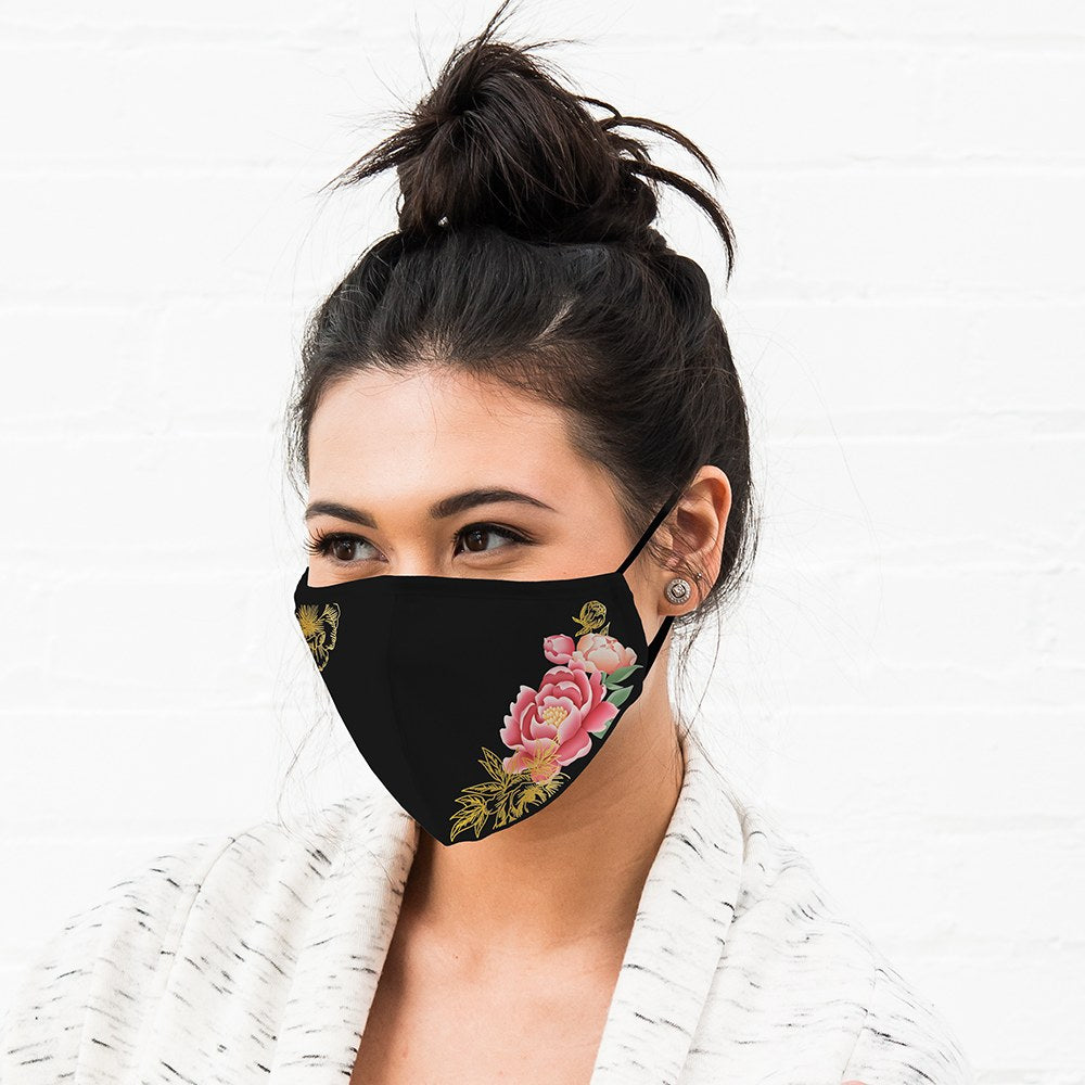 Black Modern Floral Print Protective Cloth Face Mask