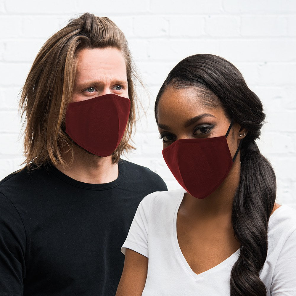 Dark Red Protective Cloth Face Mask