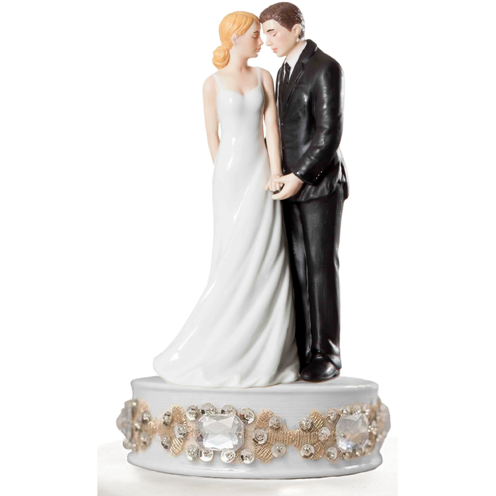 Glam Porcelain Bride and Groom Wedding Cake Topper