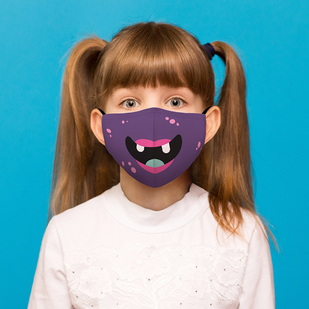 Purple Monster Print Kids Protective Cloth Face Mask