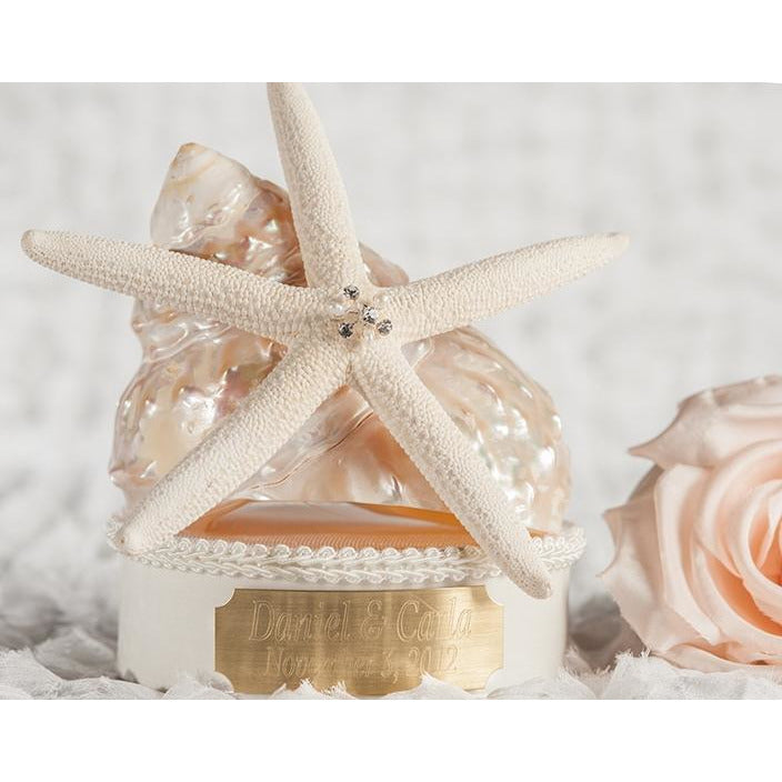 Engraveable Custom Starfish Shell Wedding Cake Topper