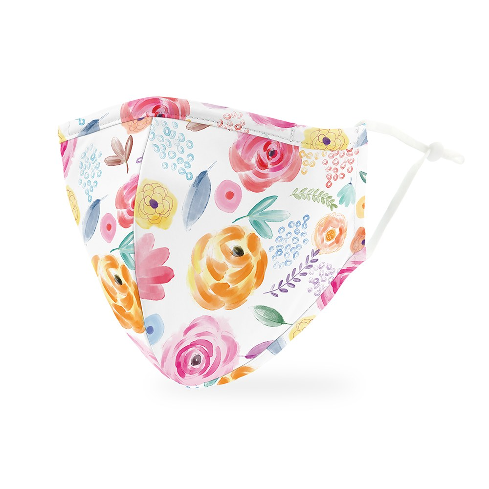 Watercolor Rose Print Protective Cloth Face Mask