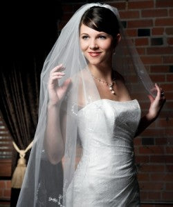 Floral Embroidered Border Cut Edge Veil