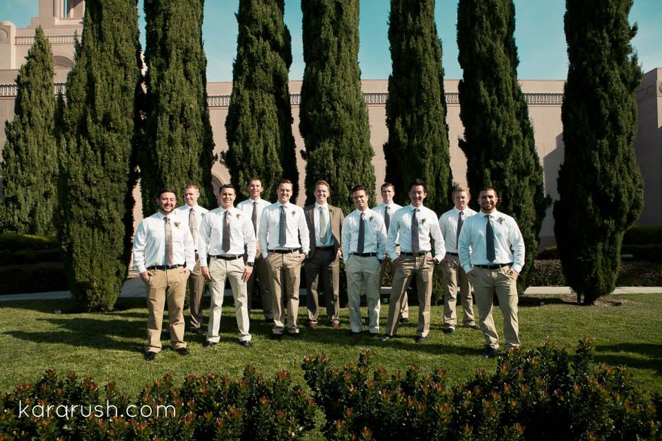 groomsmen in tan