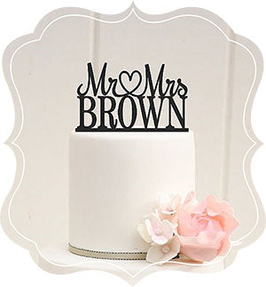 Personalized Mr. & Mrs. Open Heart Wedding Cake Topper