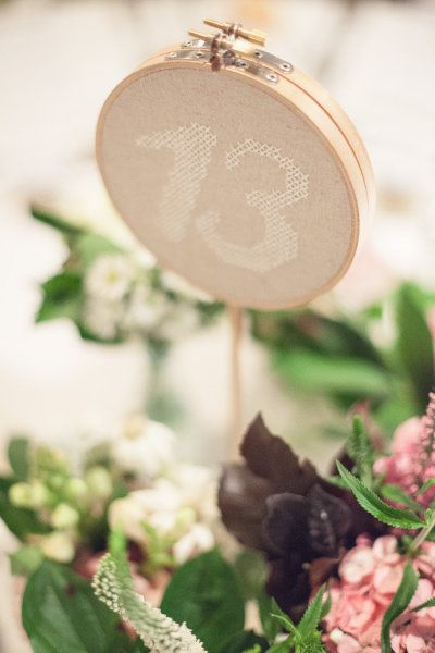 Embroidery hoop table number - Melbourne Wedding from Milk Photography