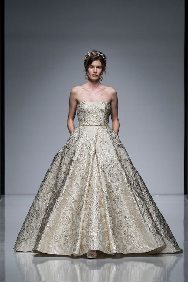 Gold winter wedding dress