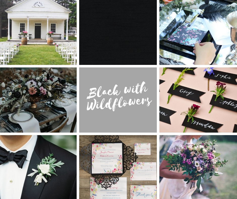 Wistful Wedding Colors | Black with Wildflowers