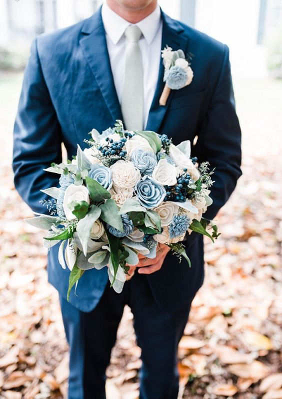 Faux Flower Sola Flower Bouquet Navy Sage and Dusty Slate Blue Bridal Bouquet