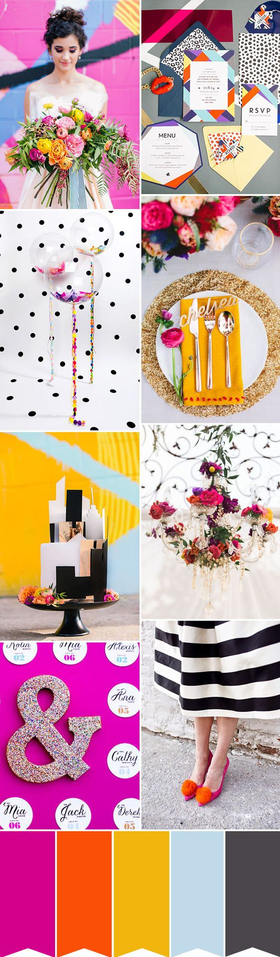 Monochrome and color pop wedding inspiration with a Kate Spade twist | www.onefabday.com
