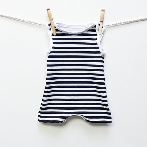 retro black and white stripe swimsuit