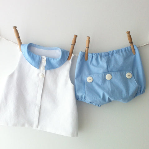 White cotton seersucker apron shirt and bloomers set