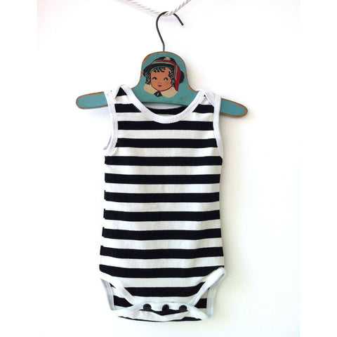 Black and White Stripe Sleeveless One Piece