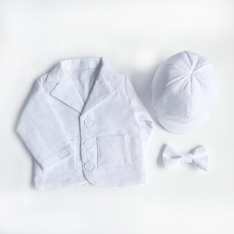 Baby Boy Baptism Coat, White Seersucker Baptism Jacket, Christening Outfit, Baptism outfit, Baby Blazer, Formal Baptism,Baby Blessing Outfit