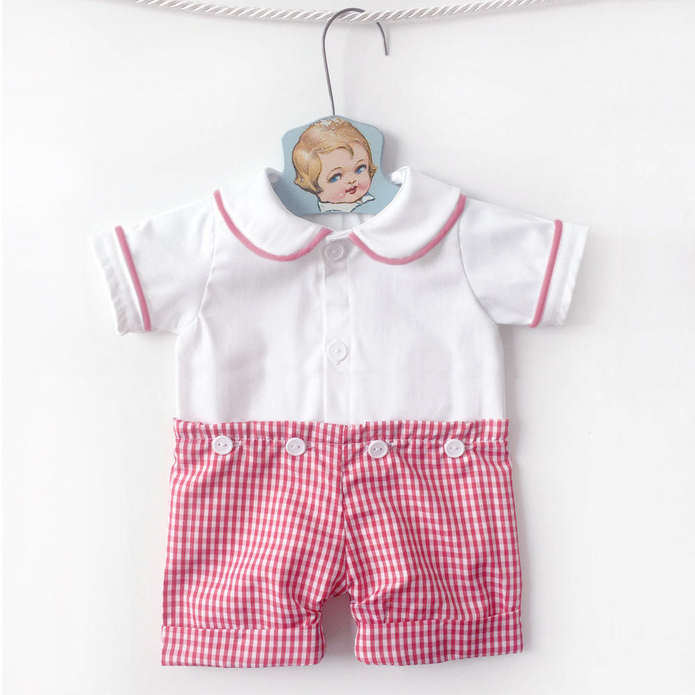 d5f1134db740 Gingham Peter Pan Collar Shorts Romper, Baby Spring Outfit, Unique Baby  Clothes, Baby