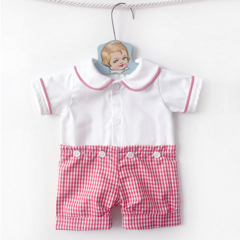 5a926894b04c Gingham Peter Pan Collar Shorts Romper