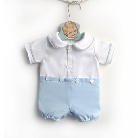 White and Blue Peter Pan Collar Button Romper, Baby Boy Jon Jon, Baby Jon Jons, Baby Jumpsuit, Baby Sunsuit, Toddler Playsuit, Boy Jon Jon