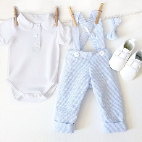 Baby Blue Seersucker Birthday Outfit Boy, 4 Piece Toddler Boy Outfit, Boy First Birthday, Baby Suspenders Outfit, Boys Wedding Clothes