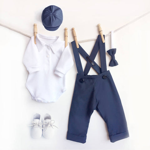 5 Piece Navy Blue Outfit, Navy Baby Clothes, Page Boy Outfit, Boy Dressy Outfit, Boys Formal Wear, Baby Wedding Outfit, Baby Bow Tie Outfit
