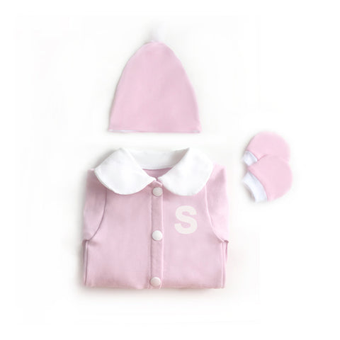 Baby Girl Pink Personalized Sleeper Set, Girl Take Home Set, Monogram Sleeper, Home From Hospital, Pink Coming home Outfit,Baby Girl Layette