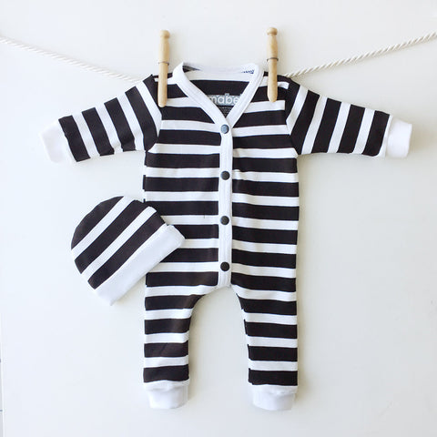 Black and White Striped Baby Sleeper Set, Striped One Piece, Baby Prisoner Costume, Halloween Outfit, My First Halloween,Last Minute Costume