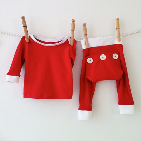 Baby Red Pajamas, Girls Pajamas, Matching Pajamas, Baby Pajamas, Red Pajama Long Johns, Baby PJs, Toddler Pajamas, Baby Boy Pajamas