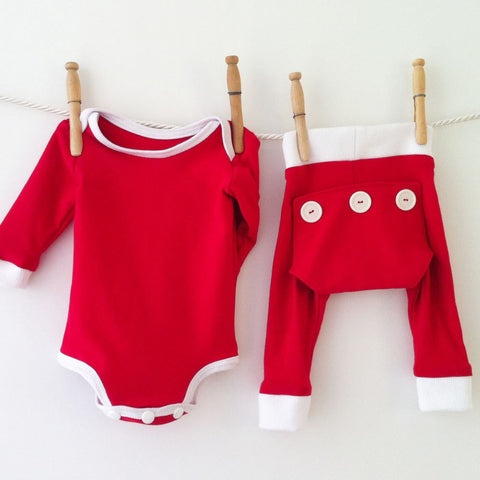 Baby Boy Christmas Pajamas, Red Onesie and Leggings Set, Christmas Baby Outfit, Red Pajamas, Toddler Pajamas, Baby First Christmas, Holidays