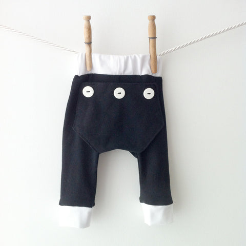 Baby Black and White Long John Pants, Baby Long Johns, Black Baby Leggings, Halloween Leggings, Baby Boy Leggings, Hipster Baby Boy Pajamas