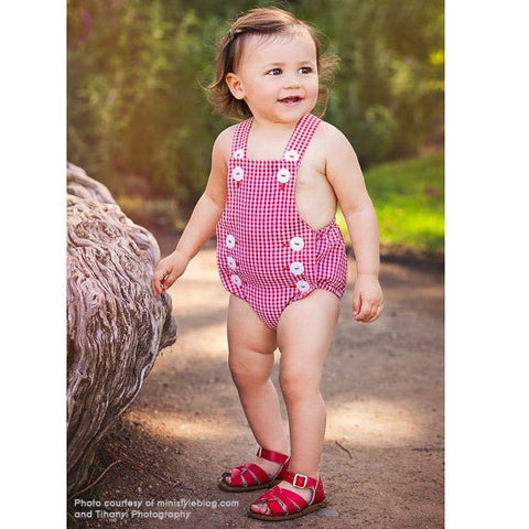 Summer Retro Romper, Red White Gingham Sunsuit, Girls Bubble Romper, Girls Summer Outfit, Baby Romper, Baby Girl Sunsuit, Independence Day