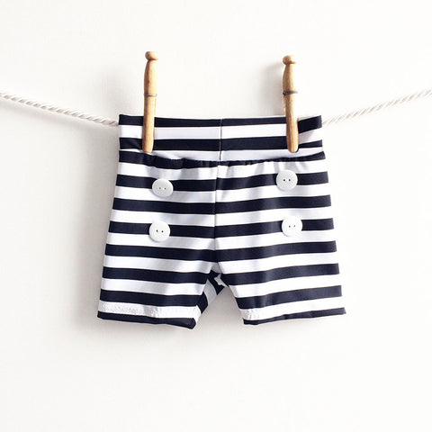 Black and White Stripe Baby Swim Trunks, Baby Boy Swimsuit, Swim Bottoms, Baby Swimwear, Baby Retro Swimsuit, Baby Retro Swimsuit