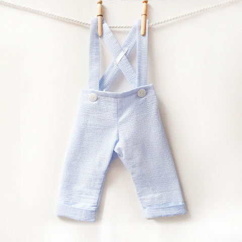 Baby Boy Longall Overalls, Boys Blue and White Longalls, Baby Seersucker Dressy Pants, Shoulder Strap Suspender Pants, Boys Bow Tie Clothes