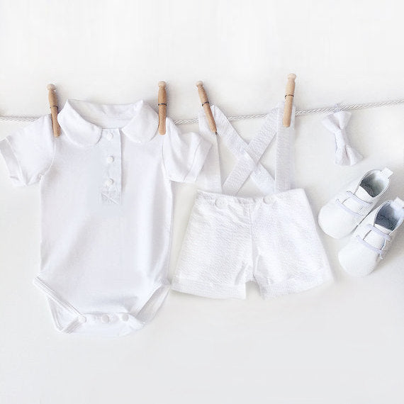 b57fe9fb4 Baby Boy Baptism Outfit, 4 Piece Boys Christening Outfit, White Seersucker  Suspender Shorts,
