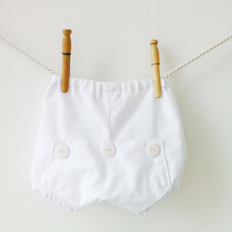 White Long John Diaper Covers