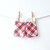 red and green plaid baby swim shorts