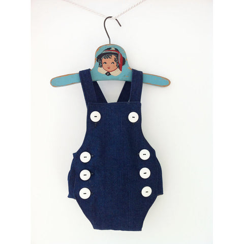 Retro Denim Romper - Baby Boy Sailor Romper