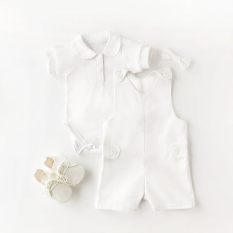 White linen overalls boys blessing outfit