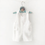 white linen baby overalls front